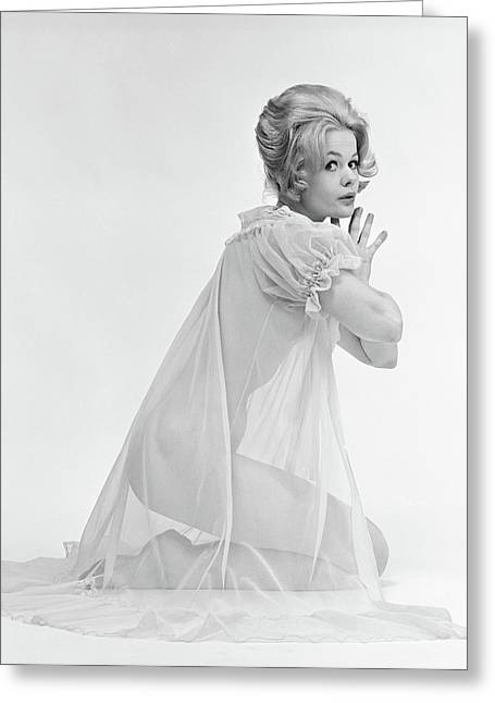 1960s Profile Portrait Of Blond Woman Greeting Card