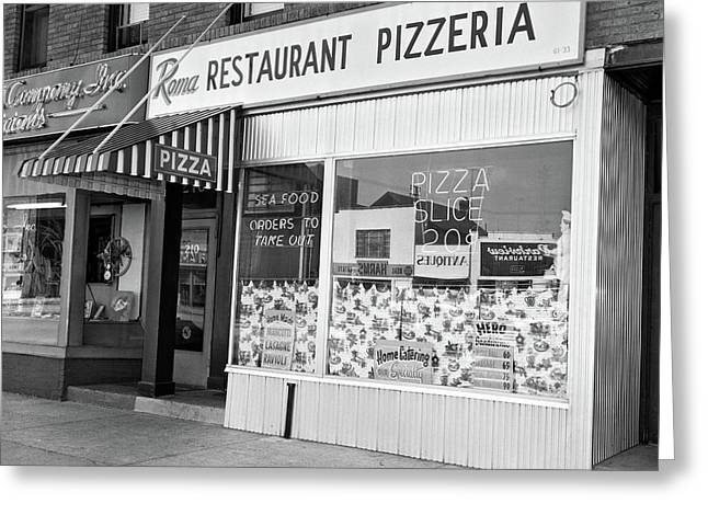 1960s Restaurant Pizzeria Storefront Greeting Card