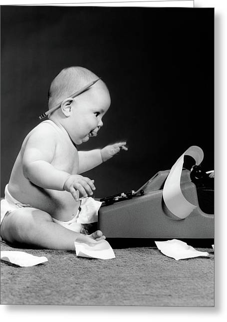 1960s Side View Of Chubby Baby Seated Greeting Card
