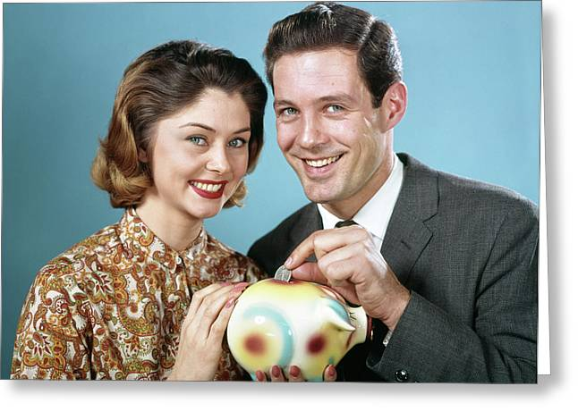 1960s Smiling Couple Looking At Camera Greeting Card