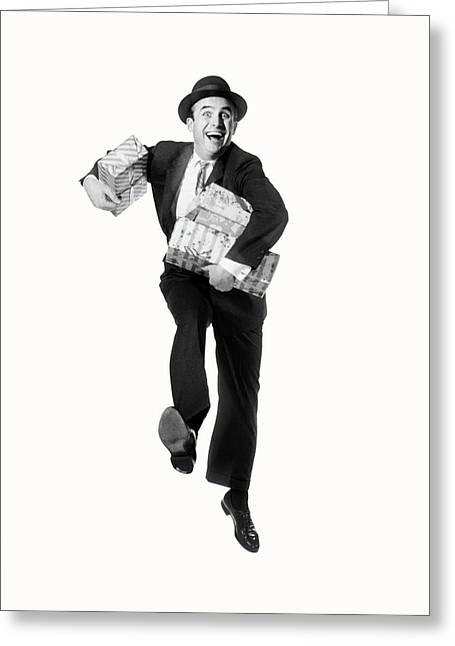 1960s Smiling Happy Man Carrying Arms Greeting Card