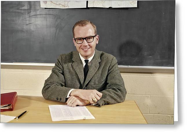 1960s Smiling Male School Teacher Greeting Card