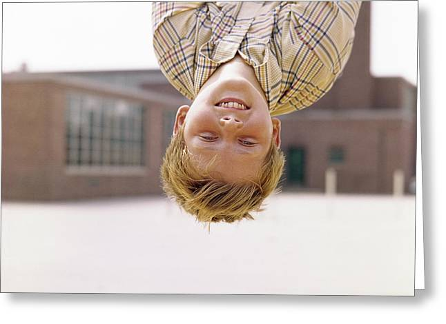 1960s Smiling Red Haired Boy Hanging Greeting Card