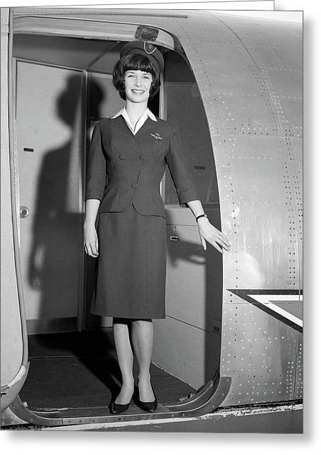1960s Smiling Stewardess Standing Greeting Card