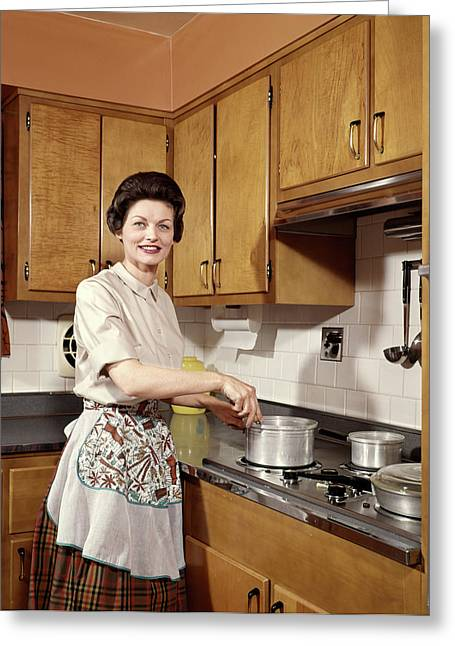 1960s Smiling Woman Housewife Wearing Greeting Card