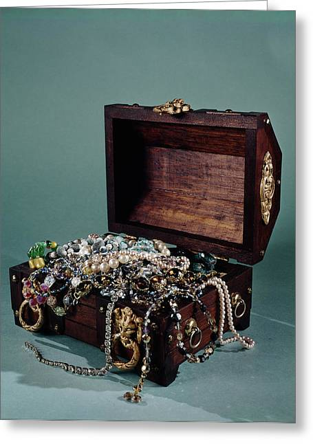 1960s Still Life Of Open Treasure Chest Greeting Card