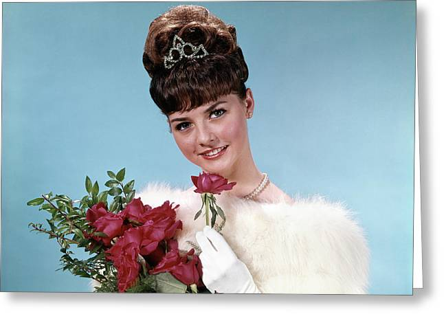 1960s Teenage Beauty Queen Holding Red Greeting Card