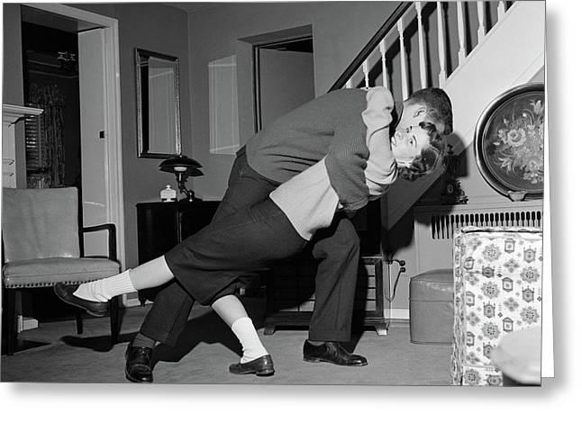 1960s Teenage Couple Boy & Girl Dancing Greeting Card