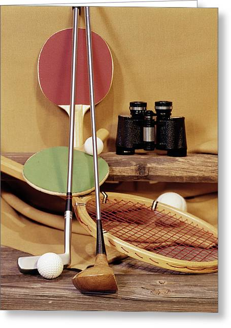 1960s Tennis Racket Racquet Table Greeting Card