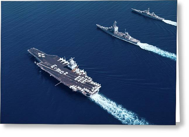 1960s Three Naval Ships On Parallel Greeting Card