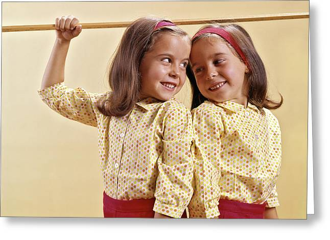 1960s Twin Girls Measuring Their Height Greeting Card