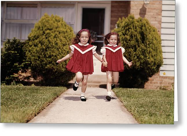 1960s Twin Girls Wearing Identical Red Greeting Card
