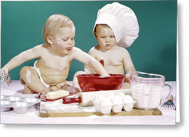 1960s Two Boy Babies One Wearing Chef Greeting Card