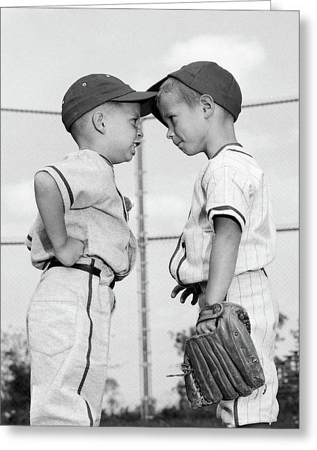 1960s Two Boys Playing Baseball Arguing Greeting Card