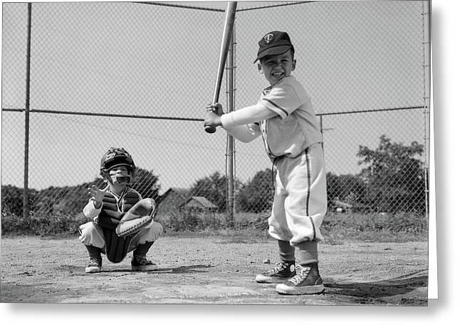 1960s Two Boys Playing Baseball Batter Greeting Card
