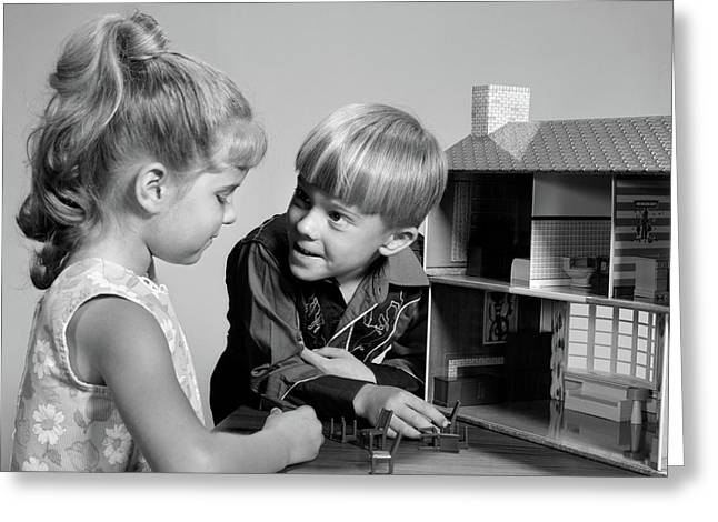 1960s Two Kids Playing With Toy Doll Greeting Card