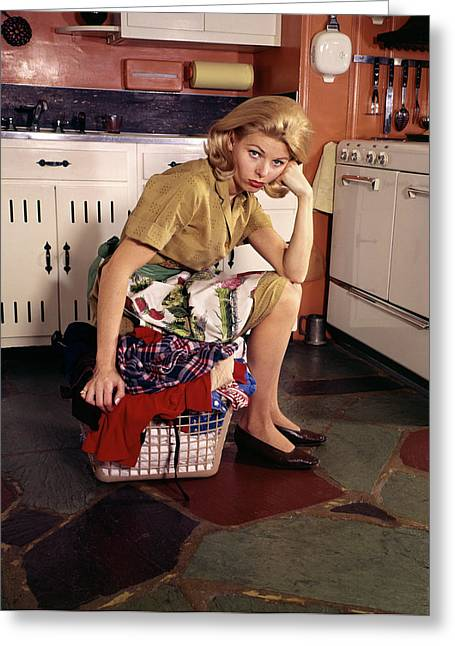 1960s Weary Dejected Woman Housewife Greeting Card