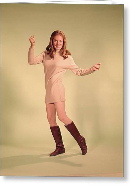 1960s Woman Dancer In Tan Dress Greeting Card