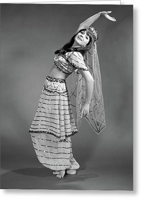 1960s Woman In Belly-dancer Costume Greeting Card