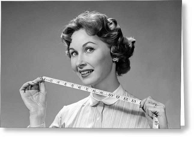 1960s Woman Portrait Holding Measuring Greeting Card