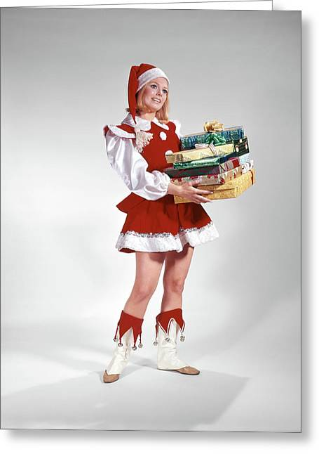 1960s Young Woman In Christmas Santa Greeting Card