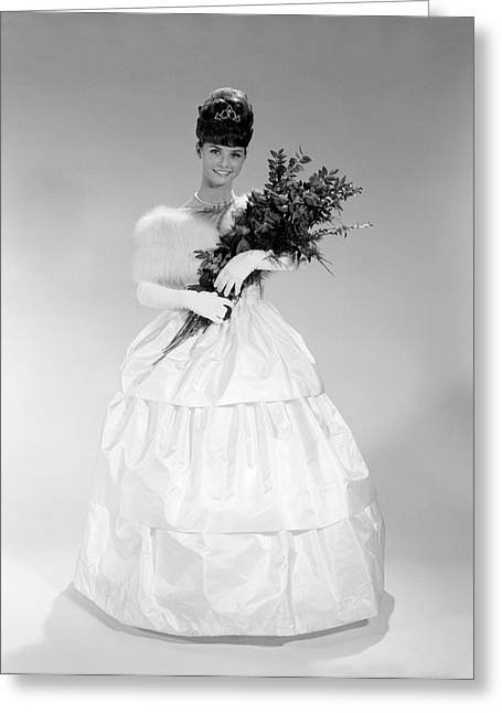 1960s Young Woman In Evening Dress Greeting Card
