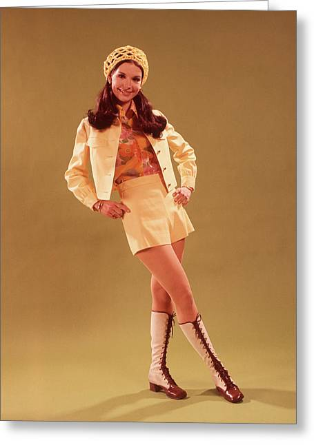 1960s Young Woman In Mini Skirt Greeting Card
