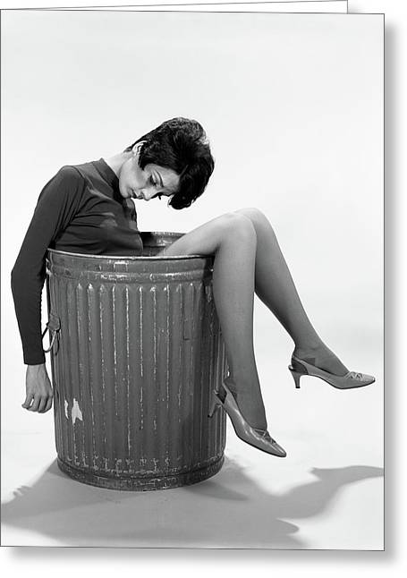 1960s Young Woman In Trash Greeting Card