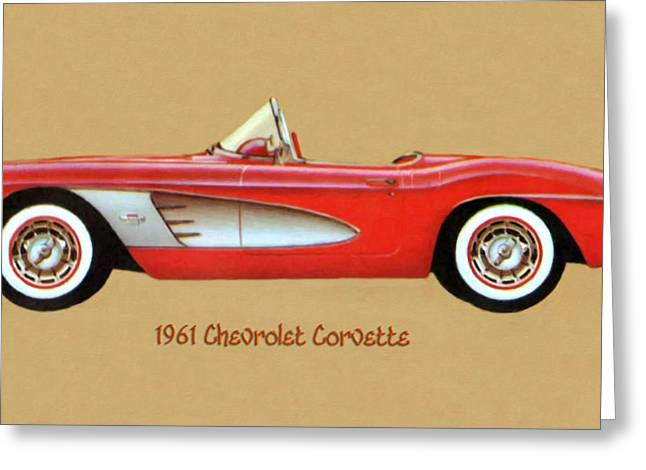 1961 Chevrolet Corvette Greeting Card by Walter Colvin
