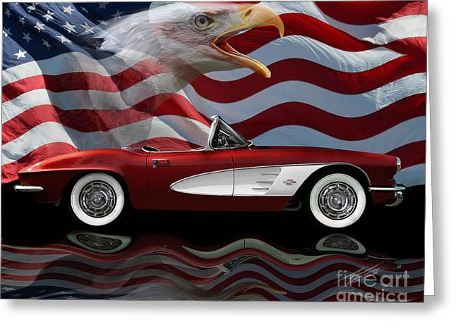 1961 Corvette Tribute Greeting Card by Peter Piatt