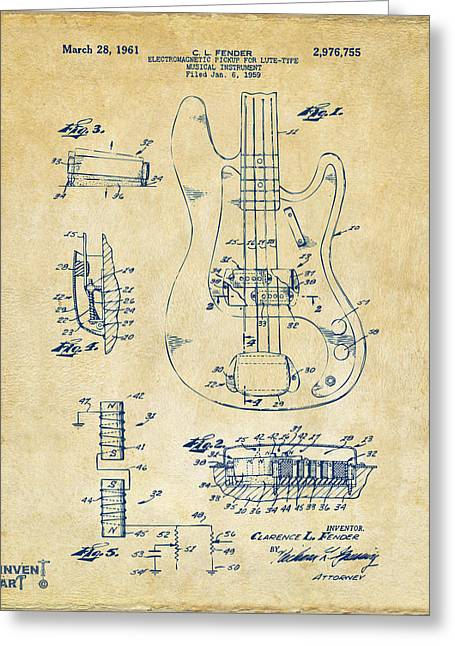 1961 Fender Guitar Patent Artwork - Vintage Greeting Card by Nikki Marie Smith