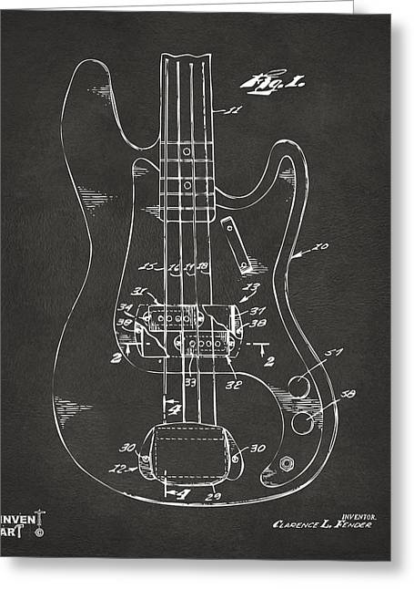 1961 Fender Guitar Patent Minimal - Gray Greeting Card by Nikki Marie Smith