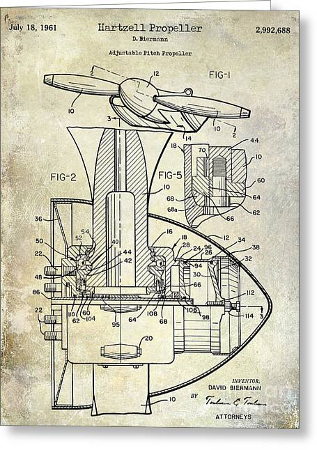 1961 Hartzell Propeller Patent Blueprint Greeting Card by Jon Neidert