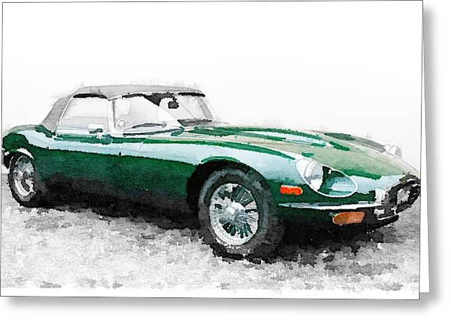 1961 Jaguar E-type Watercolor Greeting Card by Naxart Studio