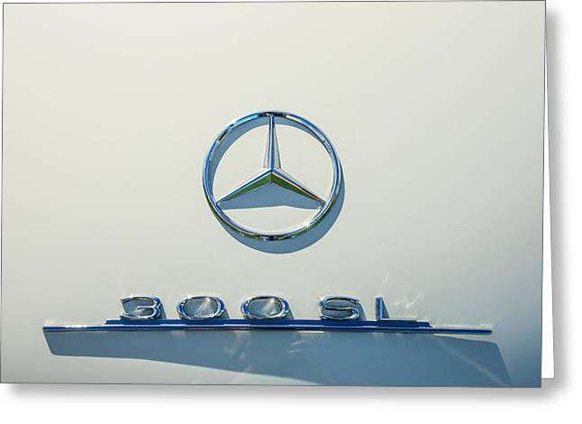 1961 Mercedes Benz 300sl Roadster Emblem Greeting Card
