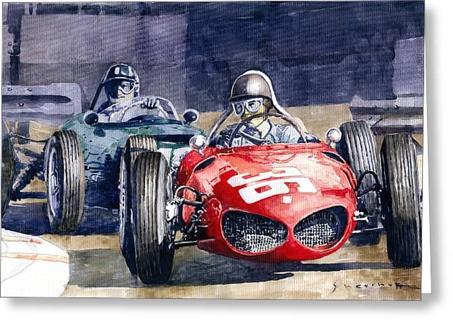 1961 Monaco Gp #36 Ferrari 156 Ginther  #18 Brm Climax P48 G Hill Greeting Card