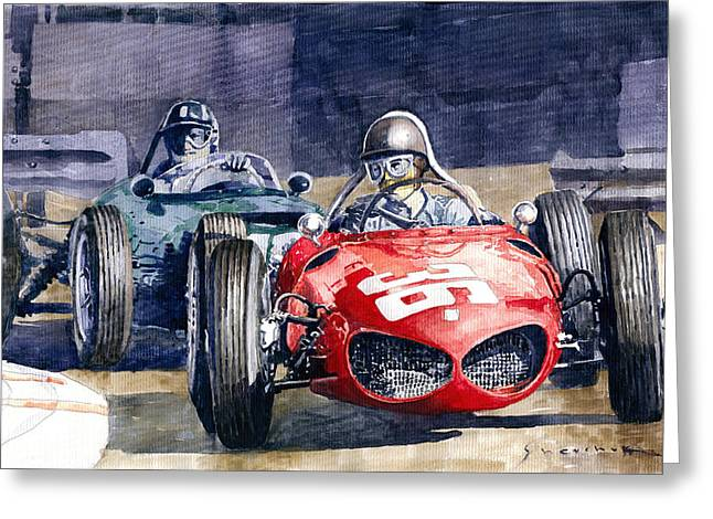 1961 Monaco Gp #36 Ferrari 156 Ginther  #18 Brm Climax P48 G Hill Greeting Card by Yuriy Shevchuk