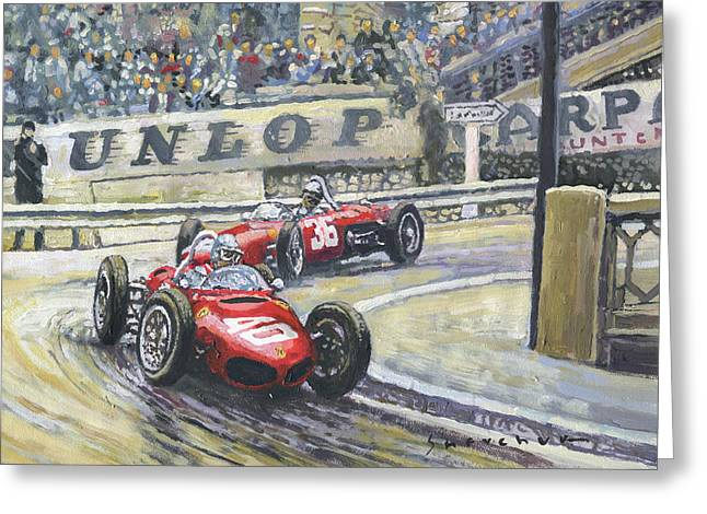 1961 Monaco Gp Ferrari 156 #40 Trips #36 Ginther Greeting Card
