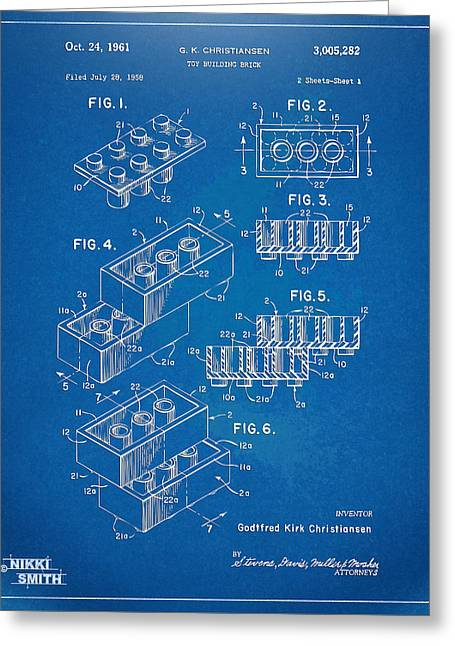 1961 Toy Building Brick Patent Artwork - Blueprint Greeting Card