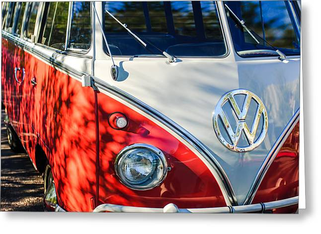 1961 Volkswagen Vw 23-window Deluxe Station Wagon Emblem Greeting Card