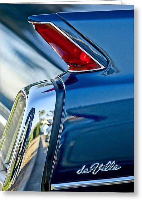 Greeting Card featuring the photograph 1962 Cadillac Deville Taillight by Jill Reger