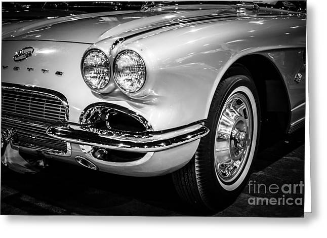 1962 Corvette Black And White Picture Greeting Card