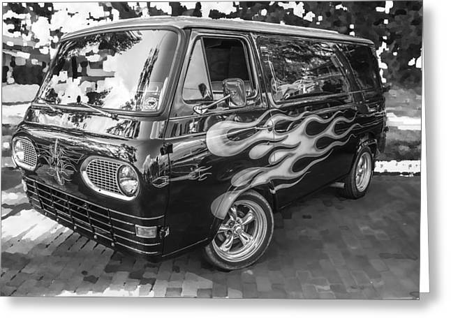 1962 Ford Econoline Van Bw Greeting Card by Rich Franco
