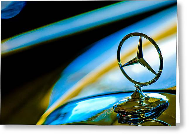 Pebbles Greeting Cards - 1962 Mercedes-Benz 6.3 Liter 220SE Cabriolet Hood Ornament Greeting Card by Jill Reger