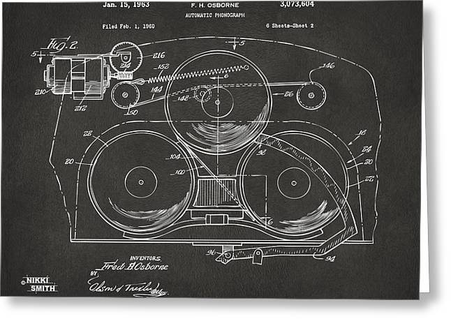 1963 Automatic Phonograph Jukebox Patent Artwork - Gray Greeting Card by Nikki Marie Smith
