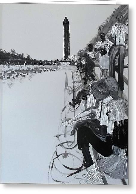 1963 D.c. Monument And Reflecting Pond Greeting Card by Leslie Byrne