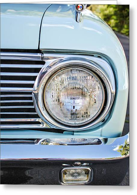 1963 Ford Falcon Futura Convertible Headlight - Hood Ornament Greeting Card by Jill Reger