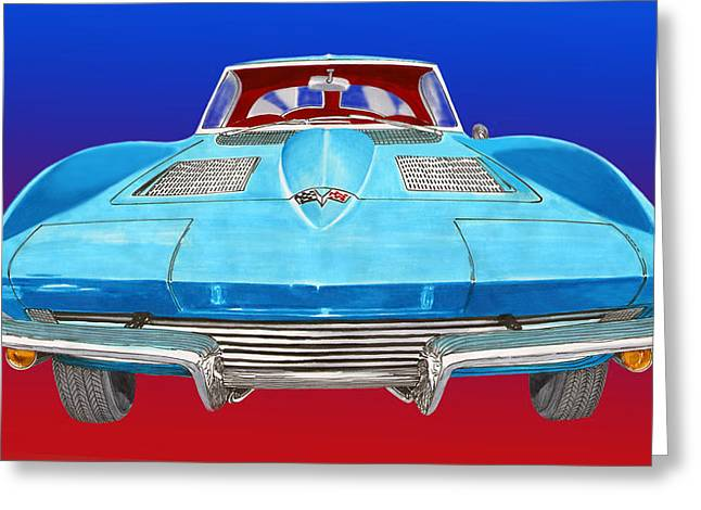 1963 Split Window Corvette Front Greeting Card by Jack Pumphrey