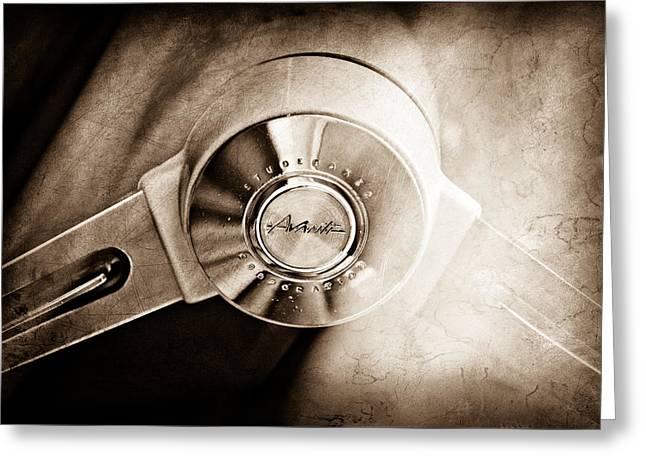1963 Studebaker Avanti Steering Wheel Emblem Greeting Card