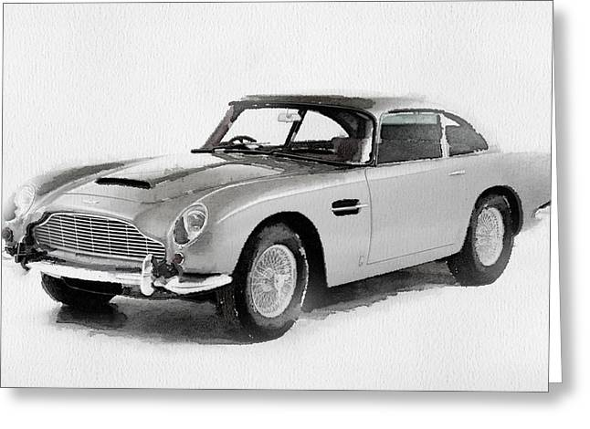 1964 Aston Martin Db5 Watercolor Greeting Card by Naxart Studio